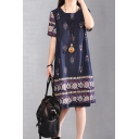 Ethnic Womens Short Sleeve Round Neck Floral Allover Pattened Linen Midi Shift Dress in Blue