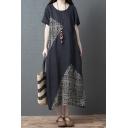 Womens Vintage Black Short Sleeve Round Neck Floral Print Panel Linen Maxi Oversize Dress