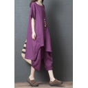 Unique Ladies Purple Short Sleeve Round Neck Contrast Piped Button Sides Asymmetric Hem Oversize Long T Shirt with Baggy Pants