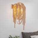 Gold Tassel Wall Mounted Lamp Contemporary 2 Heads Metallic Sconce Light Fixture for Bedroom