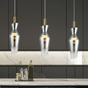 Simple Geometric Smoke Gray Glass Hanging Light Fixture LED Suspension Pendant for Dining Room