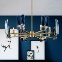 Radial Living Room Chandelier Light Fixture Blue Glass 8-Light Modern Down Lighting in Brass