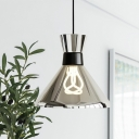 Funnel Kitchen Ceiling Hang Fixture Clear Glass 1-Head Modernist Suspension Lamp in Chrome