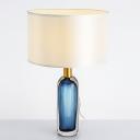 Drum Nightstand Lamp Contemporary Fabric 1 Light White Night Lighting with Wine Bottle Glaze Base