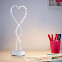 LED Bedroom Table Lamp Minimalist White Desk Lighting with Twisted Heart Acrylic Shade in Warm/White Light