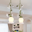 Scalloped White Glass Cluster Pendant Korean Flower 2 Bulbs Dining Room Hanging Lamp in Green