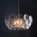 Gold Circle Panel Pendant Chandelier Modernist 3 Lights Acrylic Ceiling Suspension Lamp