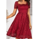 Sexy Pretty Ladies Solid Color Short Sleeve Square Neck Scalloped Sheer Lace Midi Pleated A-Line Evening Dress