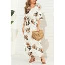 Summer Vacation Womens Short Sleeve V-Neck Flower All Over Print Bow Tie Waist Maxi Pleated Shift Dress