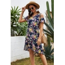 Beach Girls Short Sleeve Cold Shoulder All Over Floral Pattern Ruffled Trim Asymmetric Hem Short A-Line Dress in Dark Blue
