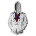 Cool Fashion Mens Long Sleeve Drawstring Zipper Front 3D Cosplay Print Color Block Relaxed Hoodie in White