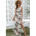 Hawaii Womens White Sleeveless Surplice Neck Floral Allover Printed Slit Side Maxi Pleated A-Line Dress