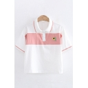 Simple Cute Girls Short Sleeve Lapel Neck Button Up Japanese Letter Avocado Embroidered Color Block Relaxed Polo Shirt