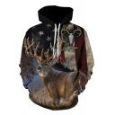 Stylish Long Sleeve Drawstring Deer 3D Pattern Loose Fit Hoodie for Boys