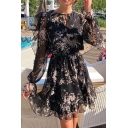 Stylish Ladies Long Sleeve Crew Neck All Over Floral Printed Bow Tie Front Mesh Mini Pleated A-Line Dress in Black