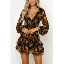 Pretty Girls Blouson Sleeve V-Neck Allover Floral Pattern Bow Tie Waist Tiered Semi-Sheer Mesh Mini Pleated A-Line Dress