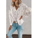 Chic Trendy Ladies Long Sleeve V-Neck Floral Embroidery Lace Ruffled Trim Relaxed Fit Blouse Top in White