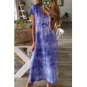 Popular Leisure Womens Short Sleeve V-Neck Slit Side Maxi Shift T-Shirt Dress