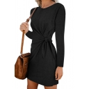 Leisure Womens Long Sleeve Round Neck Bow Tie Waist Solid Color Short Shift T-Shirt Dress