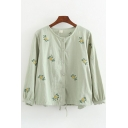 Pretty Leisure Long Sleeve Round Neck Button Down All Over Flower Embroidered Relaxed Cardigan for Women