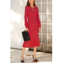 Formal Womens Long Sleeve Round Neck Solid Color Maxi Pleated Fishtail Work Tee Dress