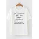 Leisure Basic Womens Short Sleeve Crew Neck Letter GRAPHIC BOOKS Pattern Loose T-Shirt