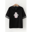 Pretty Girls Short Sleeve Crew Neck Mesh Patched Cartoon Printed Relaxed Fit T-Shirt