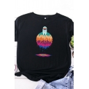 Fashion Girls Roll Up Sleeve Round Neck Astronaut Dripping Planet Pattern Slim Fit T-Shirt