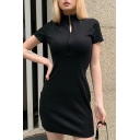 Womens Fashionable Short Sleeve Stand Collar Half Zipper Solid Color Short Shift Dress