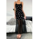Hot Ladies Black Sleeveless Allover Butterfly Print Sheer Lace Patched Velvet Maxi Pleated A-Line Cami Dress
