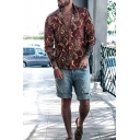 Hot Sale Long Sleeve Lapel Neck Button Down Allover Floral Printed Relaxed Fit Shirt in Red