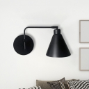 Conical Bedside Wall Light Sconce Vintage Iron 1-Light White/Black Finish Rotatable Wall Mount Lamp