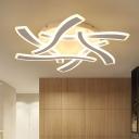 Acrylic Cross Wave Semi Flushmount Contemporary LED Flush Light Fixture in White for Bedroom, Warm/White Light