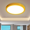 Macaroon Circle Flush Light Fixture Wood LED Bedroom Flush Mounted Lamp in Yellow, 12