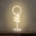 Lollipop Shape Acrylic Table Light Modern LED White Reading Lamp in Warm/White Light with Spiral Design