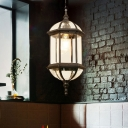 1 Bulb Clear Glass Hanging Light Kit Lodges Black/Gold Finish Capsule Lantern Passage Ceiling Pendant Lamp