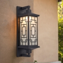 1 Light Cuboid Wall Mount Lighting Lodges Black Opal Glass Wall Sconce with Curved/Rectangle Pattern
