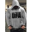 Gym Guys Fashionable Long Sleeve Drawstring Letter ANIMAL Print Slim Fit Hoodie