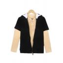 Cool Short Sleeve Zipper Front Polka Dot Pattern Contrasted Loose Black Hoodie