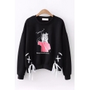 Stylish Girls Long Sleeve Round Neck Letter MEETING YOU Cartoon Character Graphic Lace Up Relaxed Fit Pullover Sweatshirt