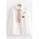 Cute Preppy White Looks Long Sleeve Lapel Collar Button Down Letter CAT Paw Embroidered Loose Fit Shirt with Tie