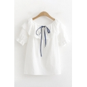 Stylish Pretty Ladies Short Sleeve Round Neck Bow Tied Front Lace Patched Relaxed Fit Blouse in White
