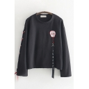 Womens Vintage Long Sleeve Round Neck Japanese Letter Strap Lace Up Relaxed Fit T-Shirt