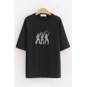 Popular Girls Short Sleeve Round Neck Letter THEY ARE DANCE Cartoon Embroidered Relaxed Fit T-Shirt
