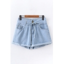 Ladies Trendy Solid Color Drawstring Waist Rolled Edges Relaxed Denim Shorts in Light Blue