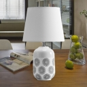 Modernist Tapered Table Light Ceramic 1 Bulb Bedroom Desk Lamp with Fabric Shade in Pink/White