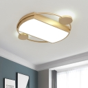Gold Geometric Ceiling Mounted Light Minimalism Acrylic LED Flush Mount Lamp with Ring for Bedroom, 16