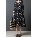 Pretty Vintage Ladies Roll Up Sleeve Round Neck Button Up All Over Floral Printed Long Pleated Swing Dress