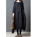 Womens Retro Long Sleeve Round Neck Solid Color Cotton and Linen Maxi Oversize Dress