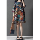 Fashionable Womens Three-Quarter Sleeve Round Neck Geometric Flower All Over Printed Cotton and Linen Short Swing Dress